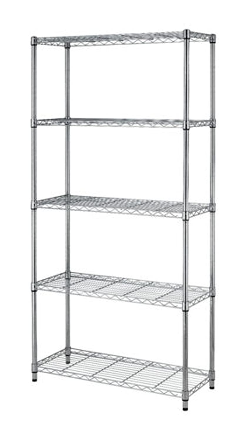 Chrome/Black 5-Shelf Steel Wire Tier Layer Shelving 72x36x14 Storage Rack Salman Store
