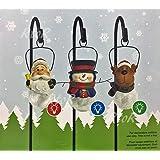 クリスマスソーラーライト 3個セット ソーラー式充電 サンタクロース/トナカイ/スノーマン