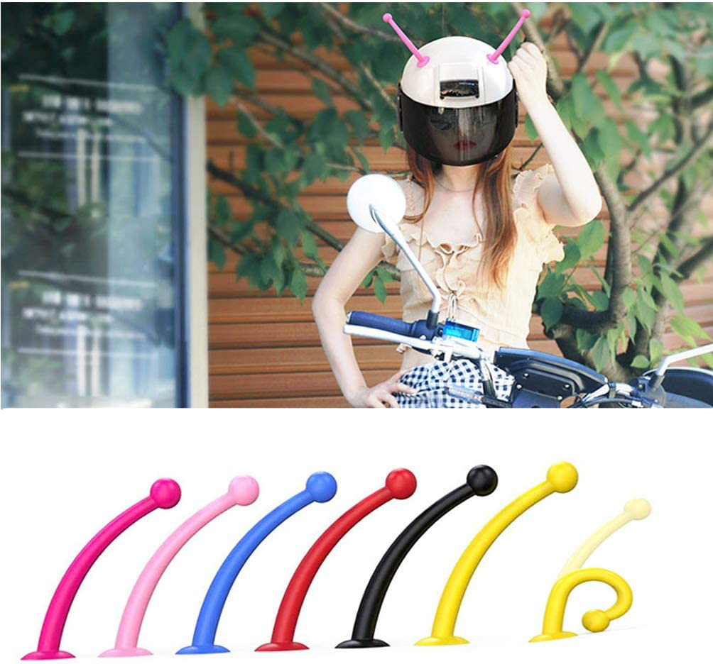 CLISPEED 1 Pair Silicone Helmet Horn Suction Cup Martian Antenna Helmet Fun Helmet Accessories for Biking Skiing Snowboarding