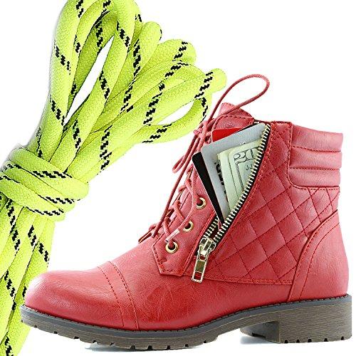 Dailyshoes Donna Militare Allacciatura Fibbia Stivali Da Combattimento Caviglia Alta Esclusiva Tasca Per Carte Di Credito, Giallo Neon Nero Rosso Pu