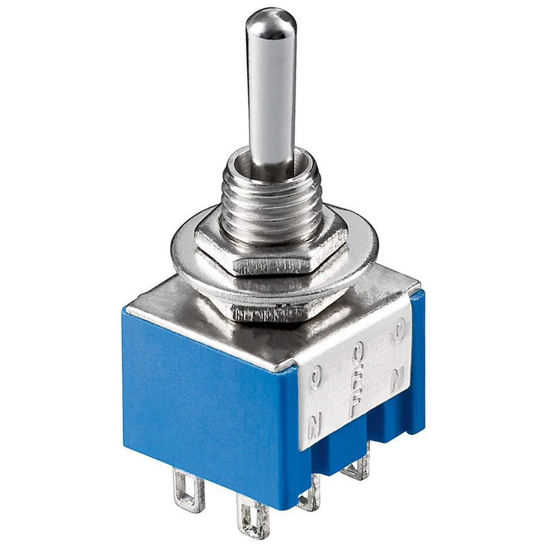 Einbau-Schiebeschalter 0,1A//250V; 2-polig //6 Kontakte; 2x Umschalter//Ein-Ein