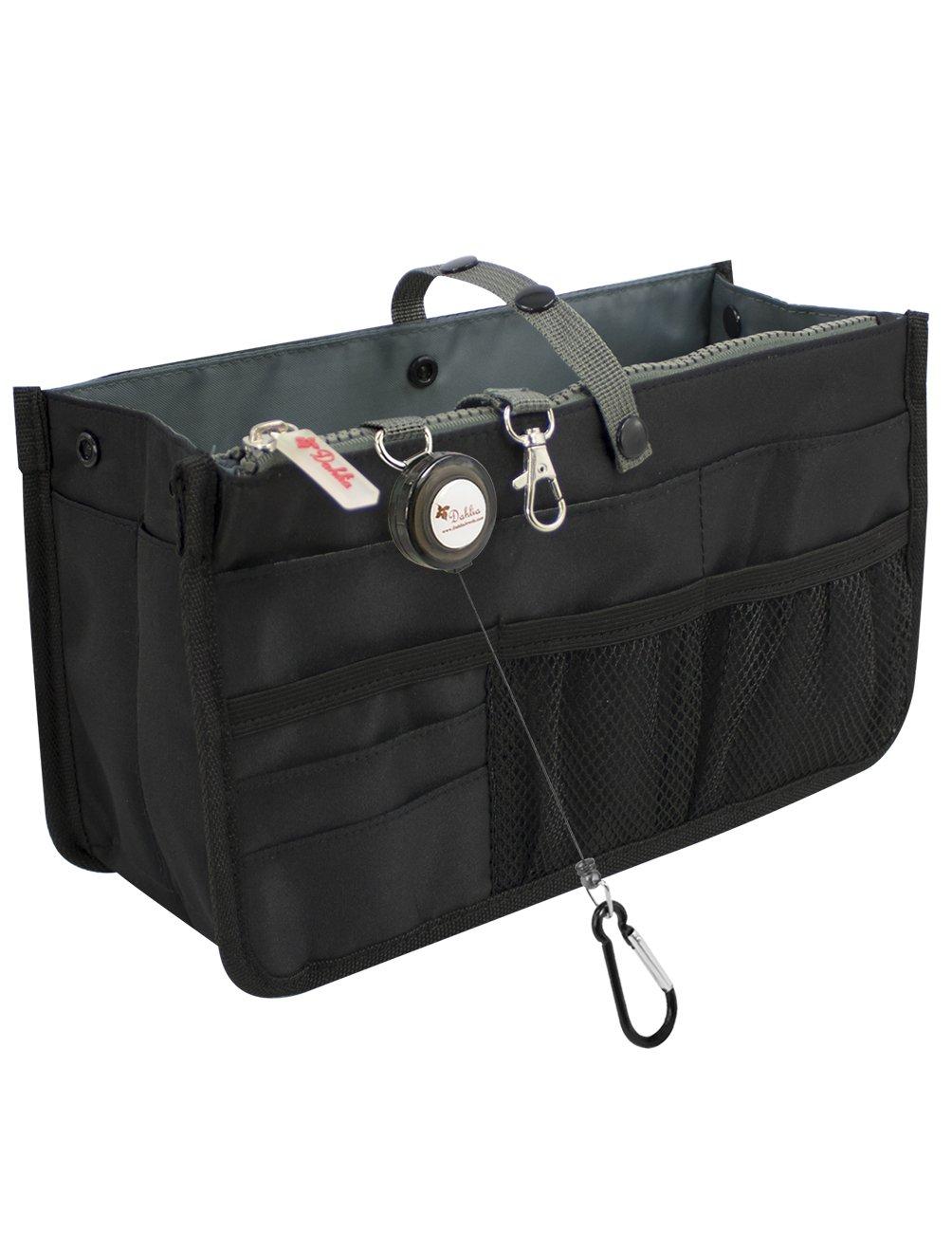 Dahlia's Patented Handbag Purse Organizer Insert - STURDY Flexible, Black by Dahlia