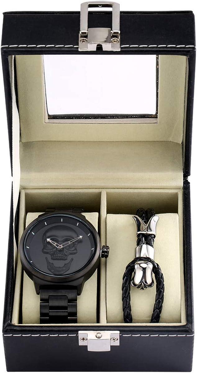 Reloj de pulsera de cuarzo para hombre, diseño de calavera 3D, resistente al agua, 30 m, acero inoxidable, con cuerda de mano de calavera para hombre, caja de regalo