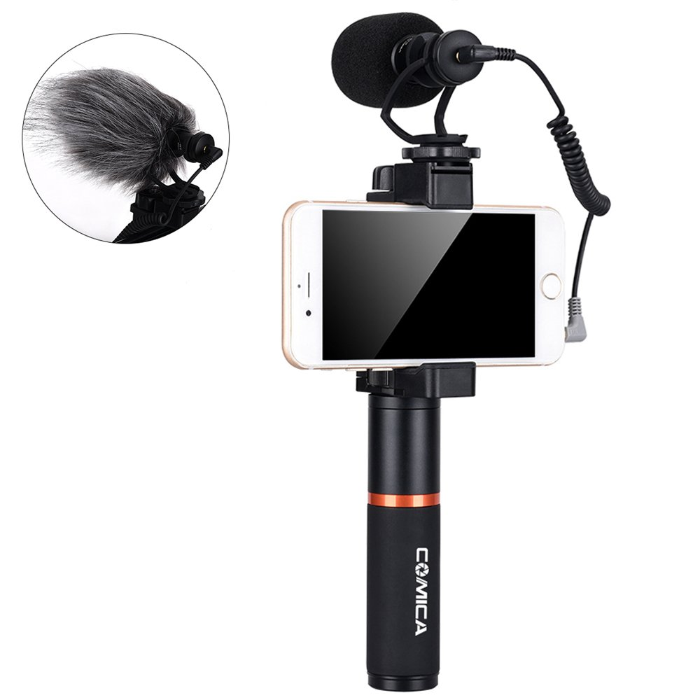 Comica Smartphone Video Kit CVM-VM10-K3 Filmmaker Handle Grip with Shotgun Video Microphone Video Rig for iPhone X 8Plus 8 7Plus 7 Samsung Huawei etc. (Bluetooth Remote Control Included)