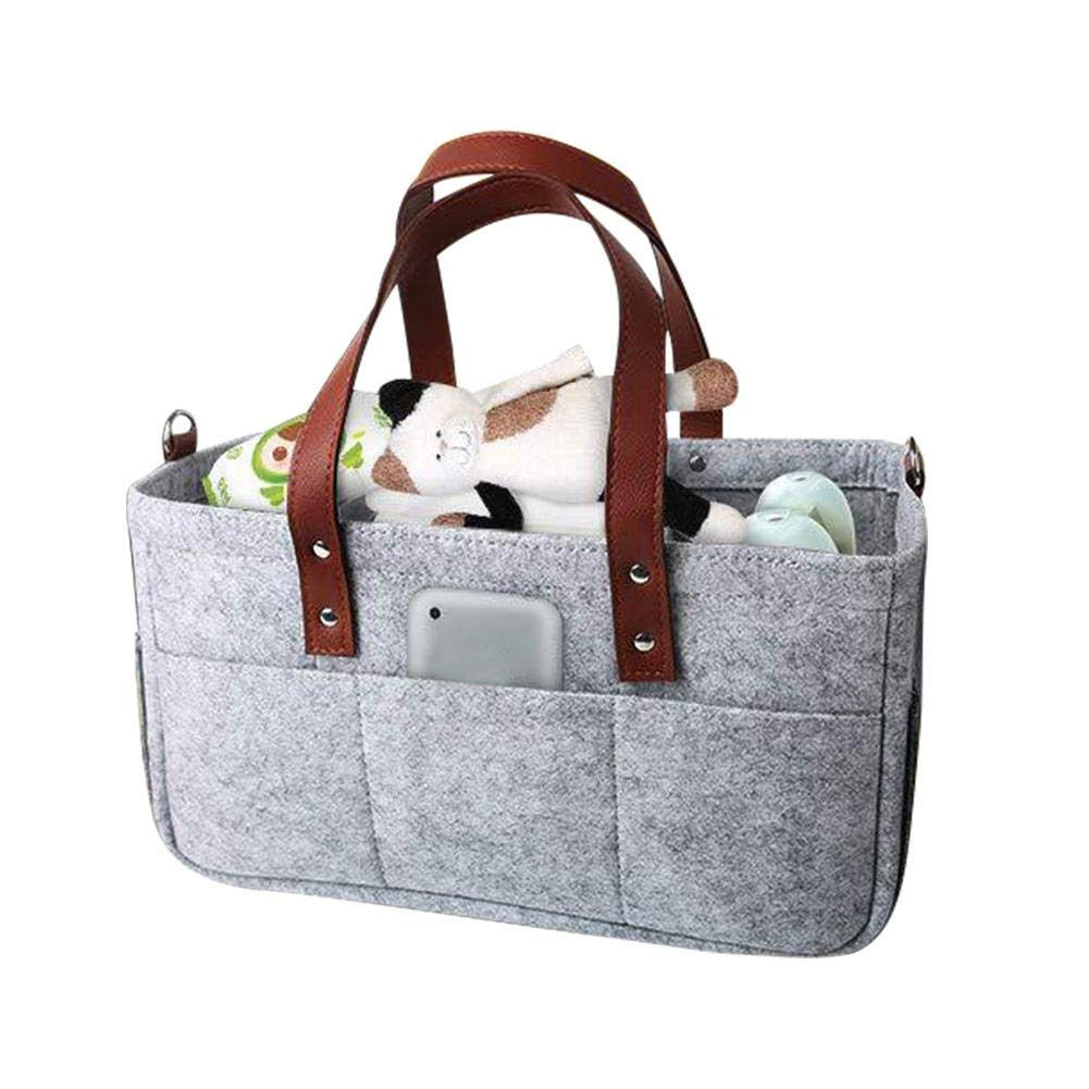 Changing Bag Organiser Baby Diaper Caddy Organiser Grey Multi-Functional Changing Bag Storage Box Caddy with Adjustable Shoulder Straps for Changing Table car