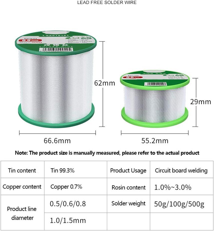 IQQI 50G Fil Diam/ètre 0,5 mm de Haute Qualit/é de Soudure Fil Sn99/% Cu0.7/% /Électrique /À Souder Rosin Noyau de Soudure Fil