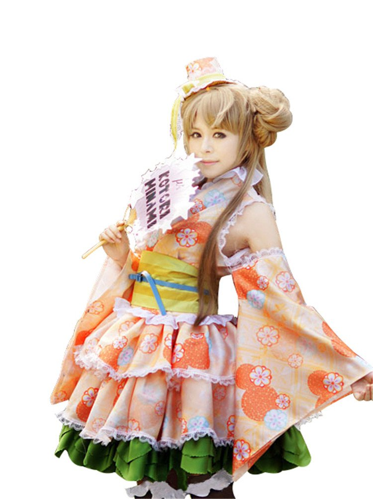 Mtxc Women's Love Live! Cosplay Costume Kotori Minami Kimono UR Card Ver. Size X-Large Orange