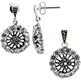 Gem Avenue Sterling Silver Clear Cubic Zirconia and Marcasite Post Back Earrings and Pendant Jewelry Set