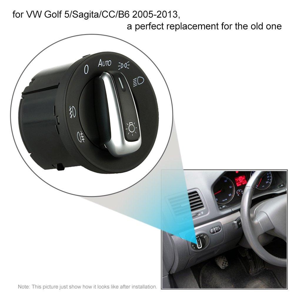 KKmoon SUT6820339596545RW Headlight Control Switch Auto Fog Light Plating Knob Spare