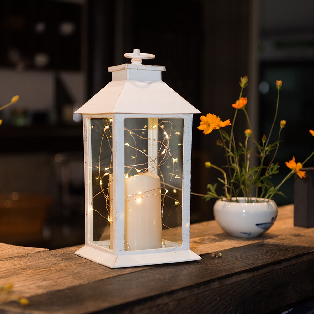 Farm Style String Light Candle Lantern Tall | ChristmasTablescapeDecor.com