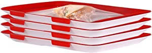 Creative Stackable Food Preservation Tray with Lid Keep Food Fresh Plastic Serving Trays for Fruits Meat Fish Vegetable Preservate Refrigerator.
