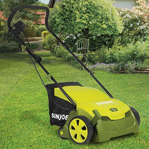 Sun Joe AJ801E-RM Electric Lawn Dethatcher w/Collection Bag   13 in.   12 Amp   Scarifier (Renewed)