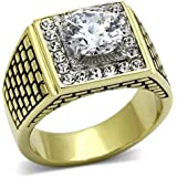 YourJewelleryBox TK735 Mens Stainless Steel SOLITAIRE ACCENTS CZ CUBIC ZIRCONIA PINKY SIGNET RING