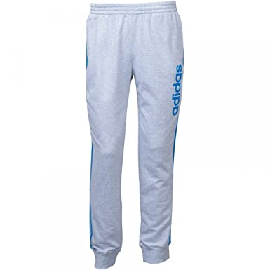 8ca5c922f16bf adidas Mens 3 Stripe Essentials Linear Logo Cuffed Sweat Pants Grey ...