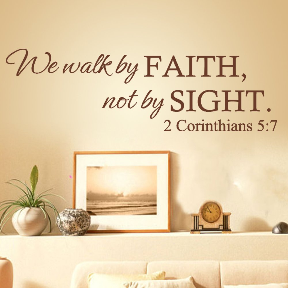 Amazon we walk by faithnot by sight 2 corinthians 57 amazon we walk by faithnot by sight 2 corinthians 57 wall quote christ bible decal art sticker home decor black small home kitchen amipublicfo Gallery