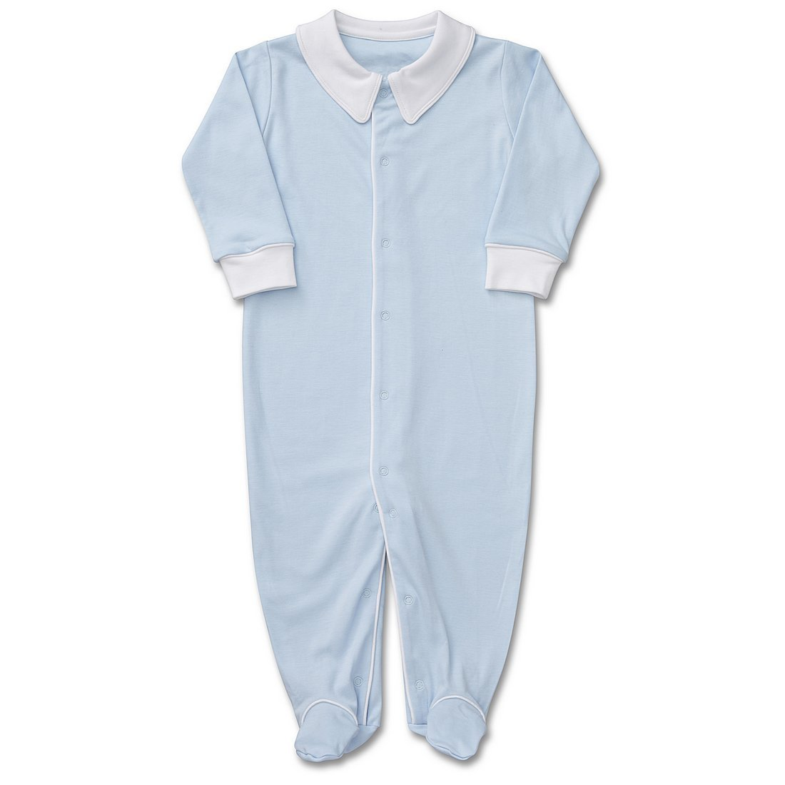 Kelsey MacLean Baby Boys Pima Cotton Coverall w/Feet Blue w/White Piping 6-9M