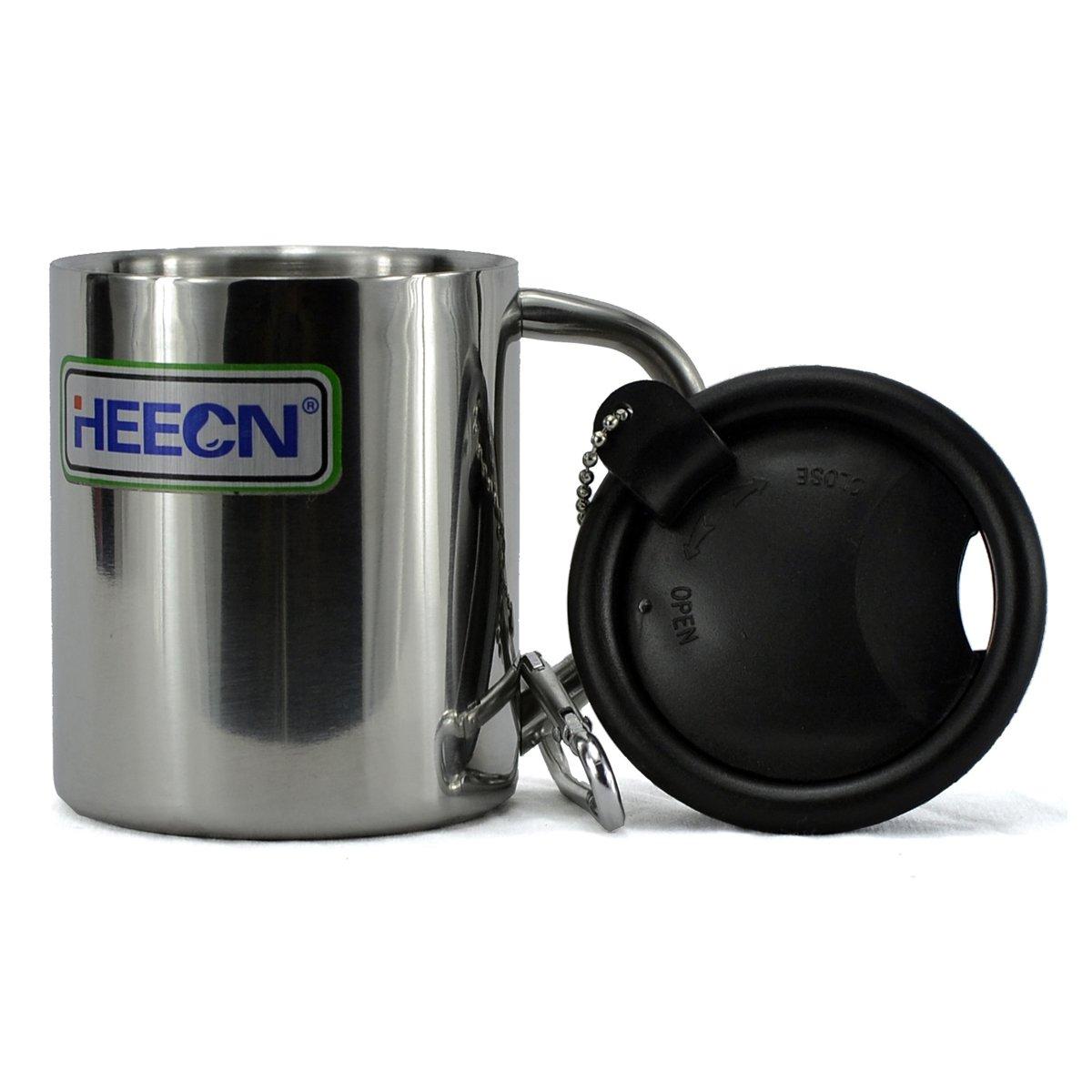 heecn Camping Becher 220ml mit Deckel doppelwandig Edelstahl Kaffee Tasse Ltd.