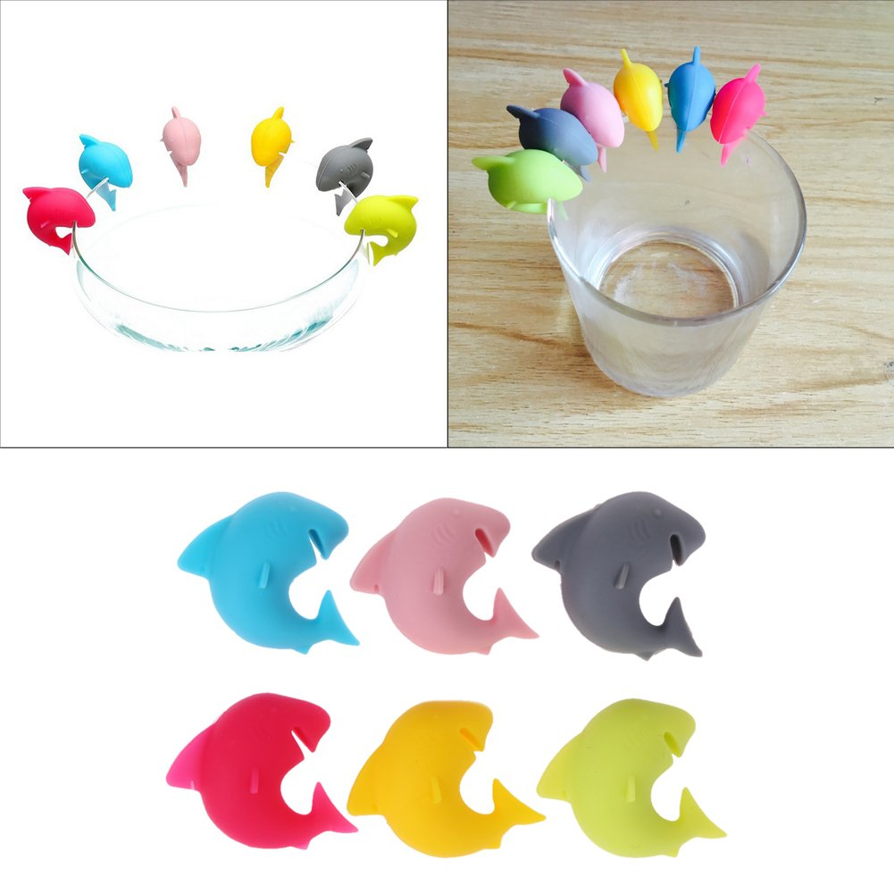 Rubber Accessories Silicone Shark Party Dedicated Tag Wine Glasses Recognizer