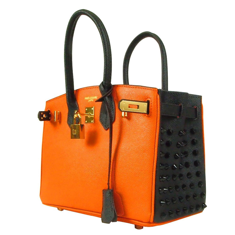 サイドスタッズバッグ 25cm<オレンジ(スタッズ:ブラック/錠:ゴールド)>2245-1511-02 B074JZ2JWQ