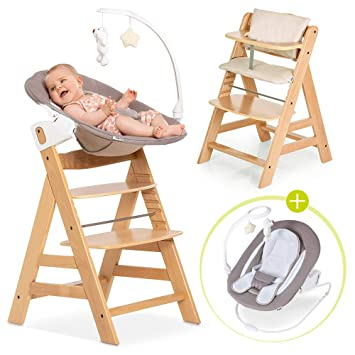 Aufsatz f/ür Neugeborene und Hochstuhlauflage Grey Grau Hauck Alpha Newborn Set Baby Holz Hochstuhl ab Geburt mit Liegefunktion inkl mitwachsend h/öhenverstellbar