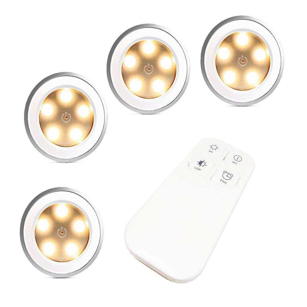 FiveRen 4 Stück wiederaufladbare 5 LEDs Puck Licht mit Fernbedienung, dimmbar Cabinet Light Wireless Spot Licht Stick-On überall Lichter für Flur, Bad, Schlafzimmer, Küche, Schränke, Schränke, Dachböden, Garagen, Autohäuser, Lagerung, Zimmer, etc. (Natürli