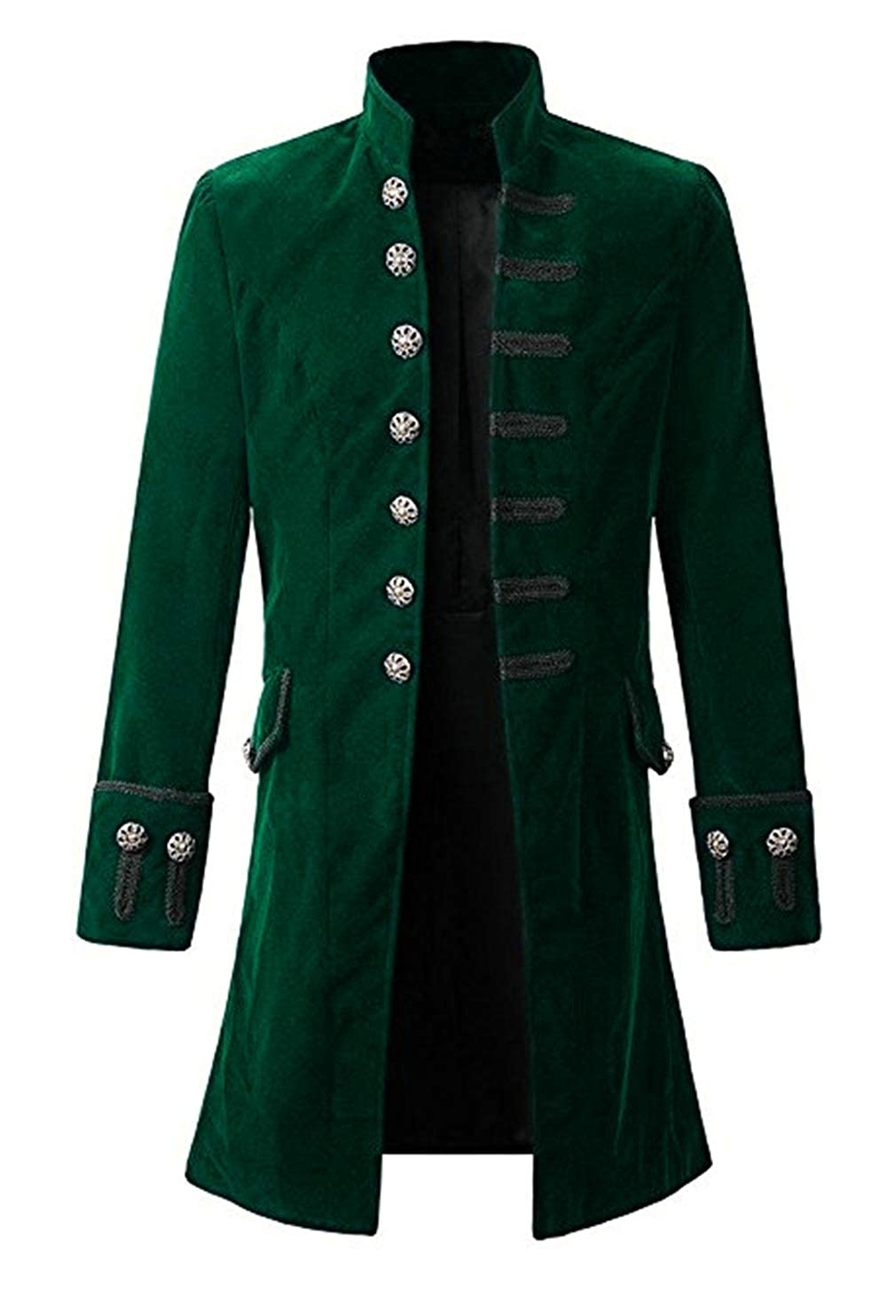f1f023b2e920 Men's Dark Green Big and Tall Long Velvet Pirate Coat -  DeluxeAdultCostumes.com