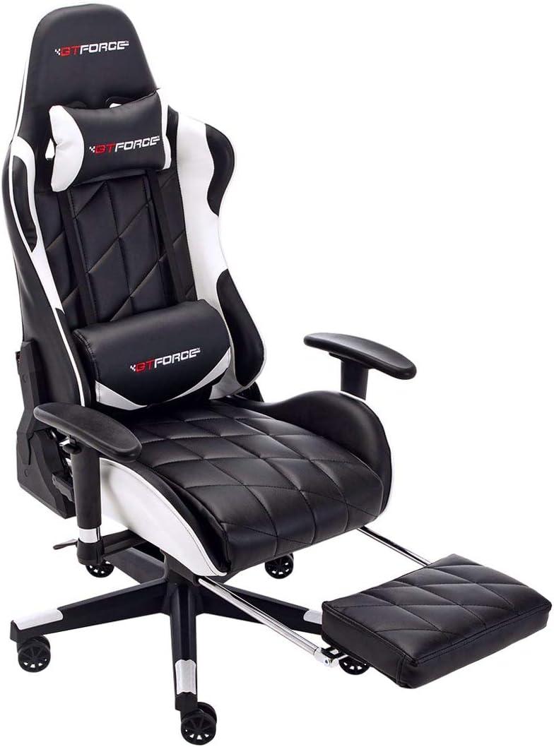 Sedia Gaming reclinabile GTFORCE PRO GT in Simil Pelle da scrivania Bianco con poggiapiedi per Il PC o per Videogiochi Sportivi e Racing