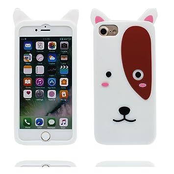Desconocido Carcasa iPhone 7 Plus, Cartoon 3D Bull Terrier, TPU Flexible Durable Gel Poof de Choque, Case iPhone 7 Plus Funda Cover 5.5