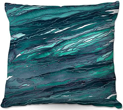 Dia Noche Designs, Outdoor Patio Couch Throw Pillow, 20 x 20 , ODP-JuliaDiSanoAgateMagicDarkTeal3