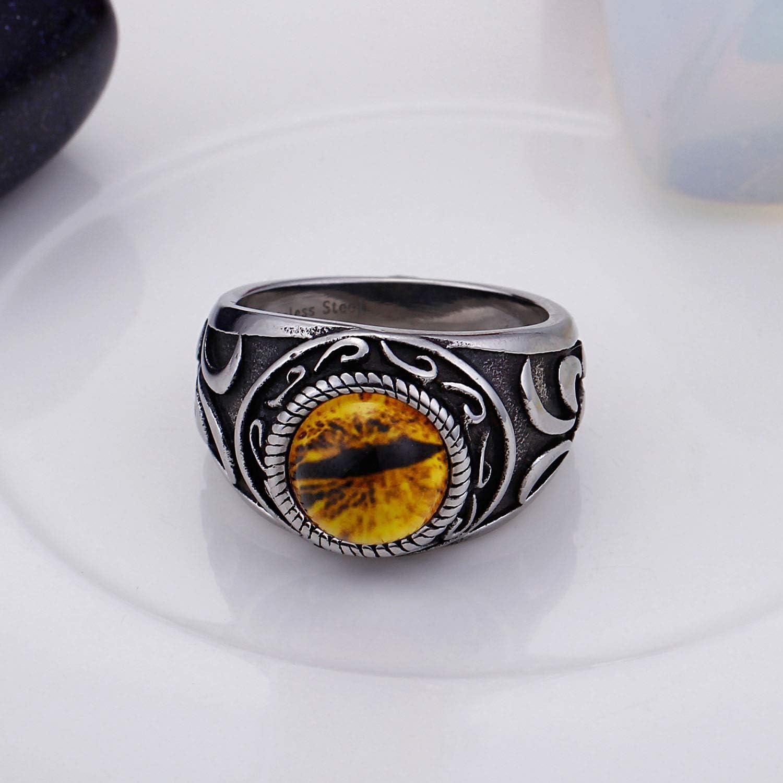 JO WISDOM Bague Homme Celtique Vintage en Acier Inoxydable Titane 316L pour Homme avec pierres pr/écieuses jaunes en noir