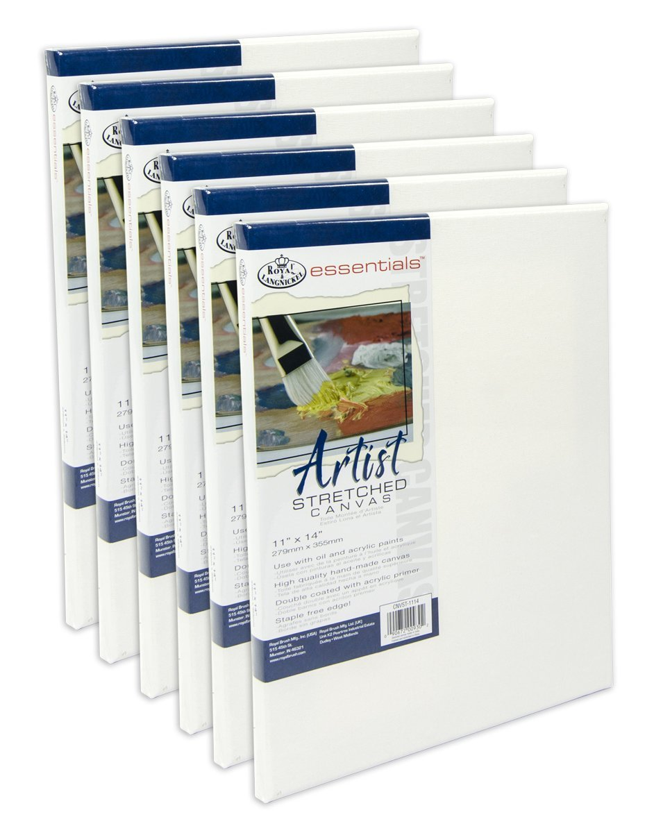 Royal & Langnickel 11 x 14 Inch Professional Quality Artist Stretch Canvas, 12 Ounce Primed Gesso - 6 Pack by Royal & Langnickel