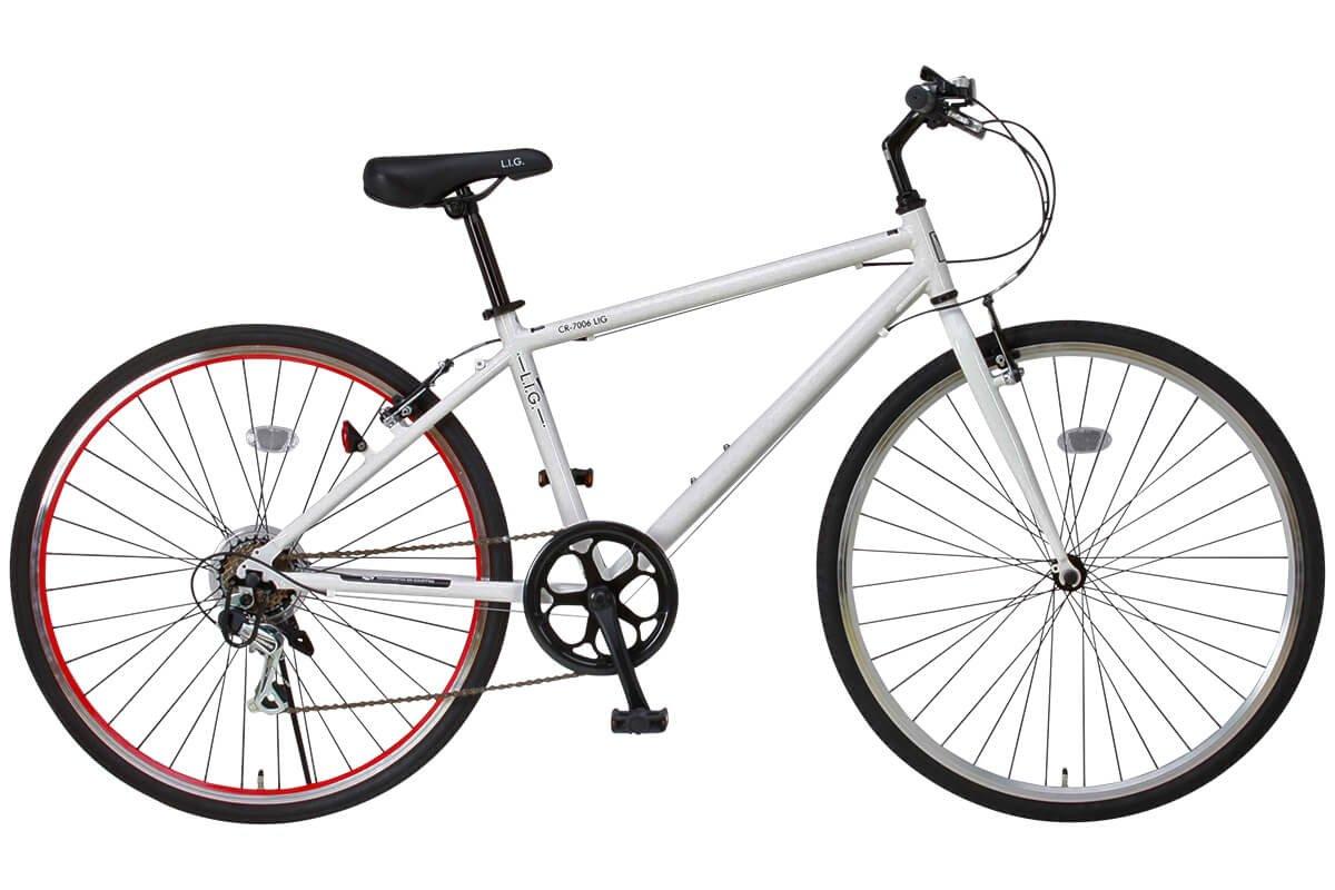 LIG(リグ)700Cシマノ6段変速アルミ製クロスバイク[サムシフト/Vブレーキ/ベル標準装備] CR-7006 LIG B004R96KUO ホワイト ホワイト