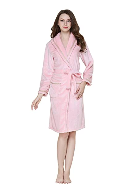 Sunshine chow Ladies Robe Robes Sauna Chaqueta Soft Flannel Belt Camisón 100% poliéster: Amazon.es: Ropa y accesorios