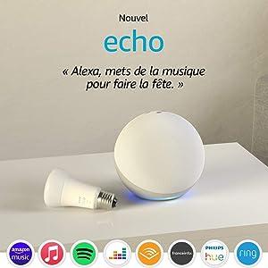 Echo (4e génération), Blanc + Ampoule connectée Philips Hue