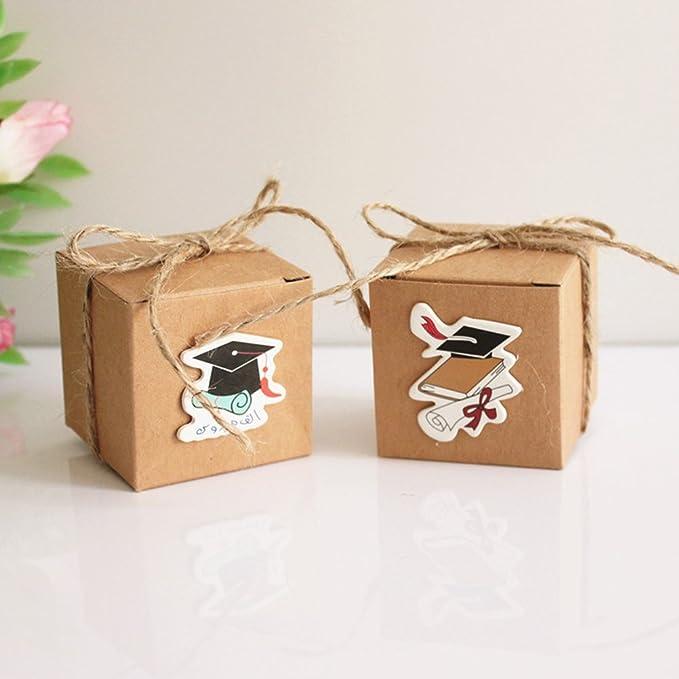 10Pcs Paper Gift Storage Box Candy Boxes Wedding Favors Graduation Cap Party Hot