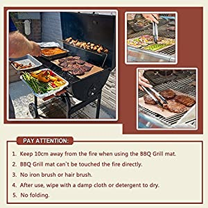 OscenLife Copper Grill Mat Set of 2 NonStick BBQ Grilling Mats- Heavy Duty, Reusable and Easy Cleaning of Grill Accessories -1 Year Warranty - (15.75X13 inch)