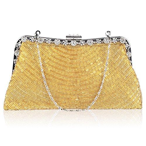 Lovely rabbit Élégant Perle perlé Sac à Main de Soirée Mariée Mariage Pochette Sac cosmétique de Luxe (Color : Purple) Gold