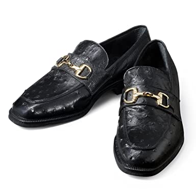 Enzo Bonafe Ostrich Leather Horsebit Loafer 923834: Black
