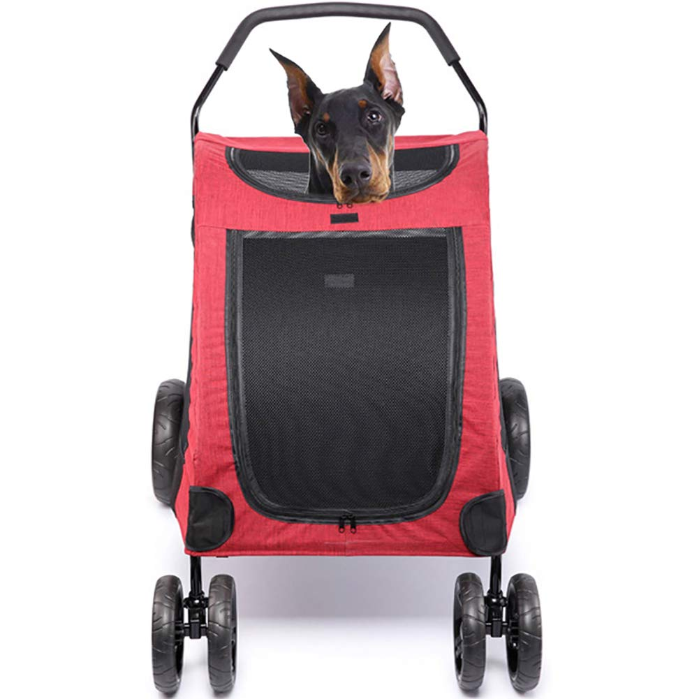 Red Foldable Large pet Stroller car Travel Carrying Dog Walking Shopping cart seat Kennel Suitable for Large Dogs, Injured Dogs,Red
