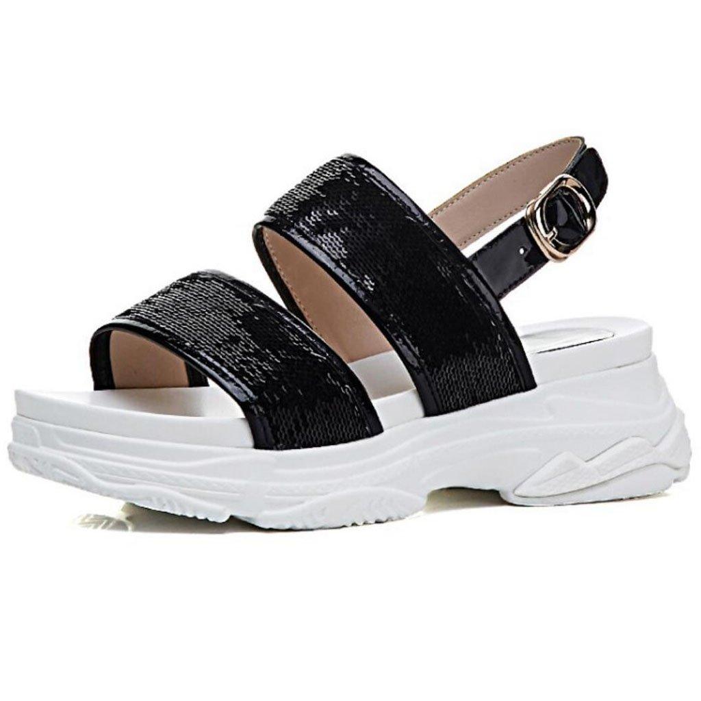 GAOLIXIA Frauen-geöffnete Zehe-Sandelholz-T-Bügel pumpt Sommer-Sport-beiläufige Schuhe Pailletten-wasserdichte Plattform-Keil-Sandelholz-im Freienstrand-Schuhe
