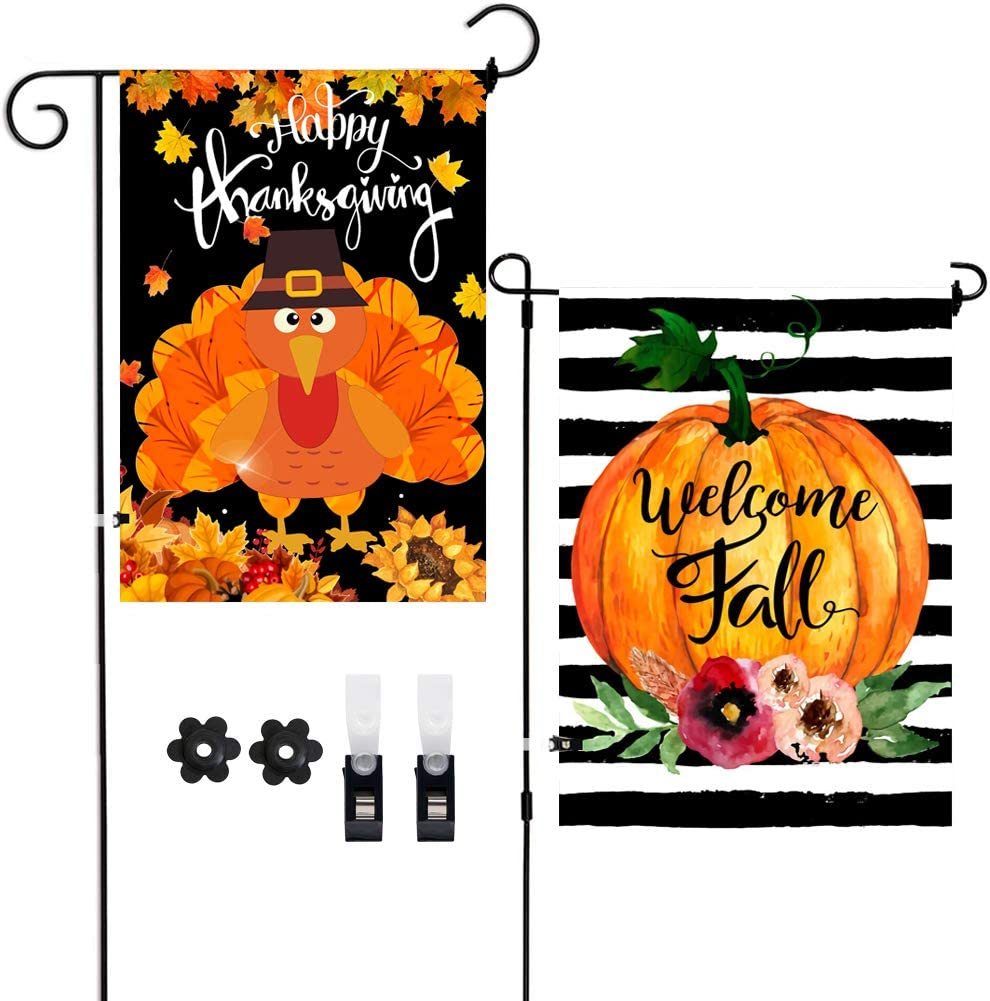 2 Pack Welcome Fall Happy Thanksgiving Garden Flags,Pumpkin Turkey Fall Yard Decorations Vertical Double-Sided Outdoor Burlap Flag with Clips Stoppers for Home Front Door Yard Harvest Scarecrow Decor