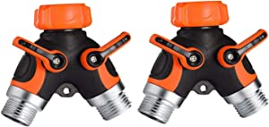 Set of 2 Y Hose Splitters 2 Way, Hose Connector Garden Outdoor Faucet -Water Tap Garden Hose Shut Off Valve Connector for Lawn and Garden- with Comfortable Rubberized Grip (Orange)…