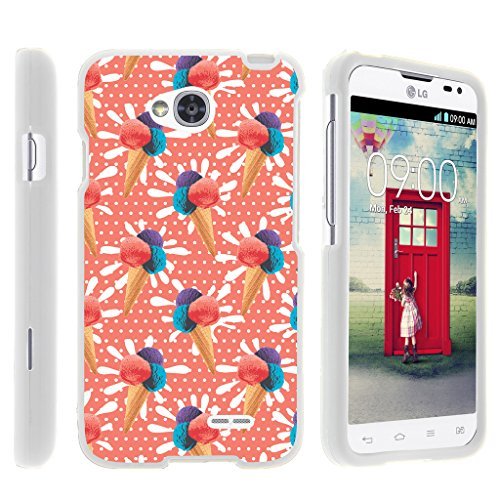 Case for LG Optimus L70 / LG Ultimate 2 L41C / LG Realm LS660 , Rubberized Snap On Shell Full Cover Case Slim Fitted White Cover with Unique Images, From TURTLEARMOR | 2 in 1 Combo Includes Clear Screen Protector and Case - Orange Ice Cream Cone (Lg Optimus Orange L70 Case)