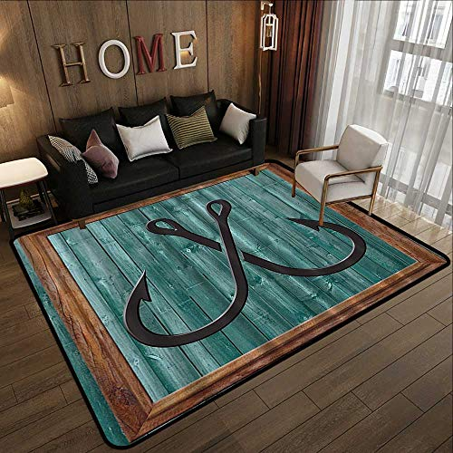 Kitchen Rugs,Nautical Fish,Fishing Lures Nautical Anchor Modern Abstract Painting Symbol Wooden Frame Rustic Vintage,Teal Brown Black 78.7