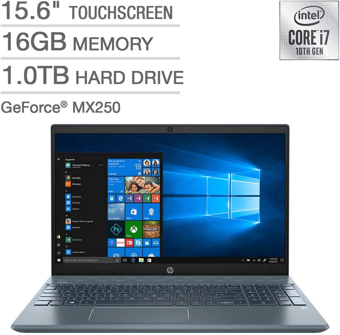 "HP High Performance Pavilion 15-cs3073cl 15.6"" Touchscreen Laptop - 10th Gen Intel Core i7-1065G7 - GeForce MX250 -16GB RAM - 1TB HDD - Backlit Keyboard- Fog Blue"