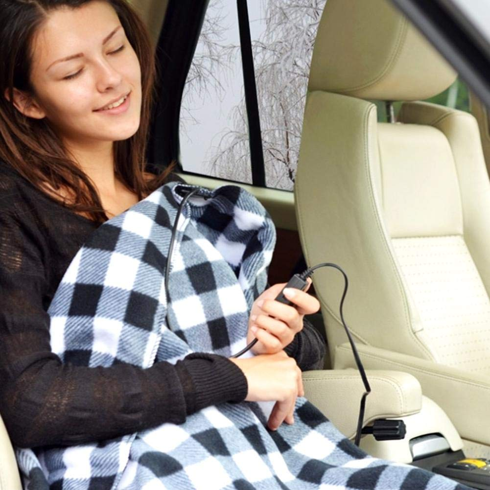 Electric Blanket Heating Blanket Electric Blanket Heated Travel Car Blanket Heating Blanket for Car Electric Heating Blanket Red Black Plaid