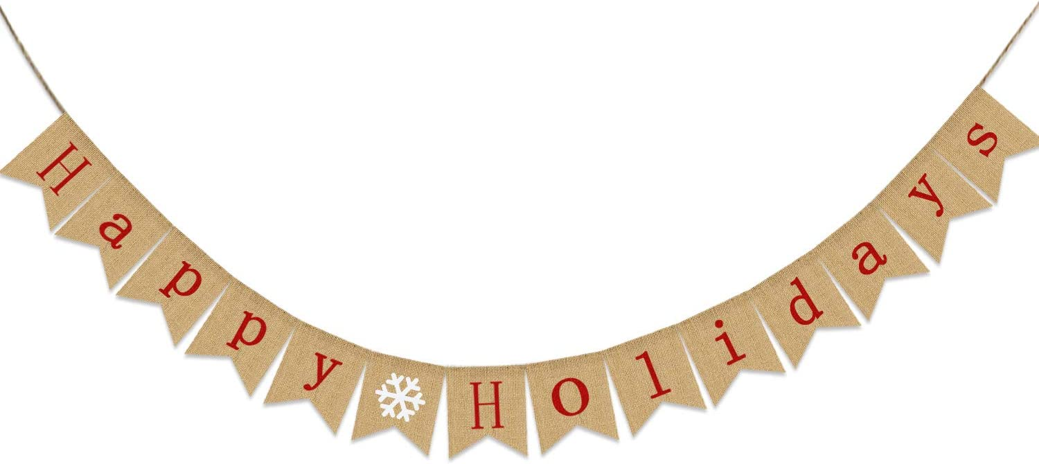 Happy Holidays Banner Burlap | Christmas Banner Burlap | Christmas Decorations| Holiday Decorations| Perfect for Home Yard Indoor Outdoor Mantel Fireplace Hanging Decor