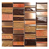 Loft - Bronze Mosaic Tile With Metallic Gold and Brown Grooved Glass - Copper Metal Pieces - For Kitchen Backsplash, Walls (5 Sheets)