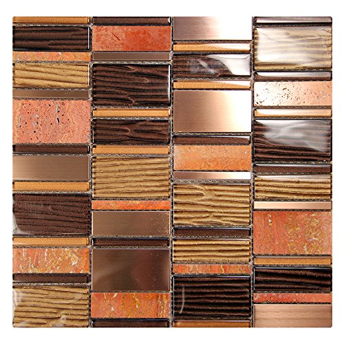 Loft - Bronze Mosaic Tile With Metallic Gold and Brown Grooved Glass - Copper Metal Pieces - For Kitchen Backsplash, Walls (4 x 6 Inch Sample)