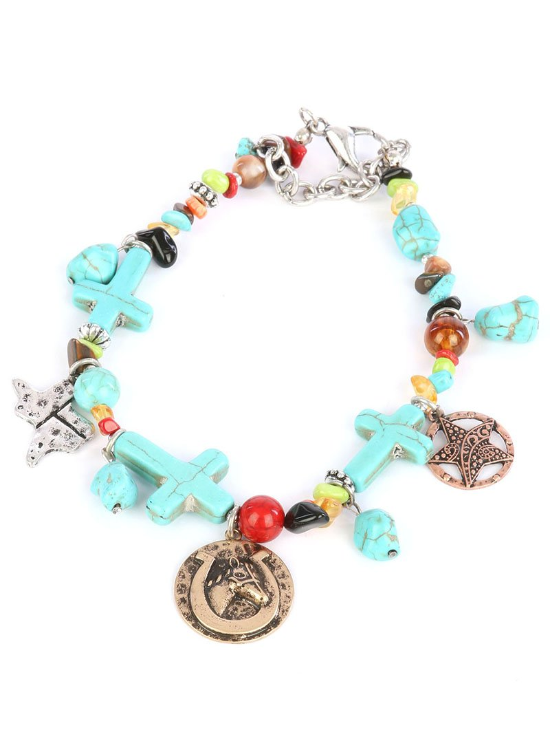 VGS Fashion Jewelry Boot Chain ~ Horseshoe Cross Blue Beads Boot Charm Anklet (Boot Charm 82547BTMU-S)